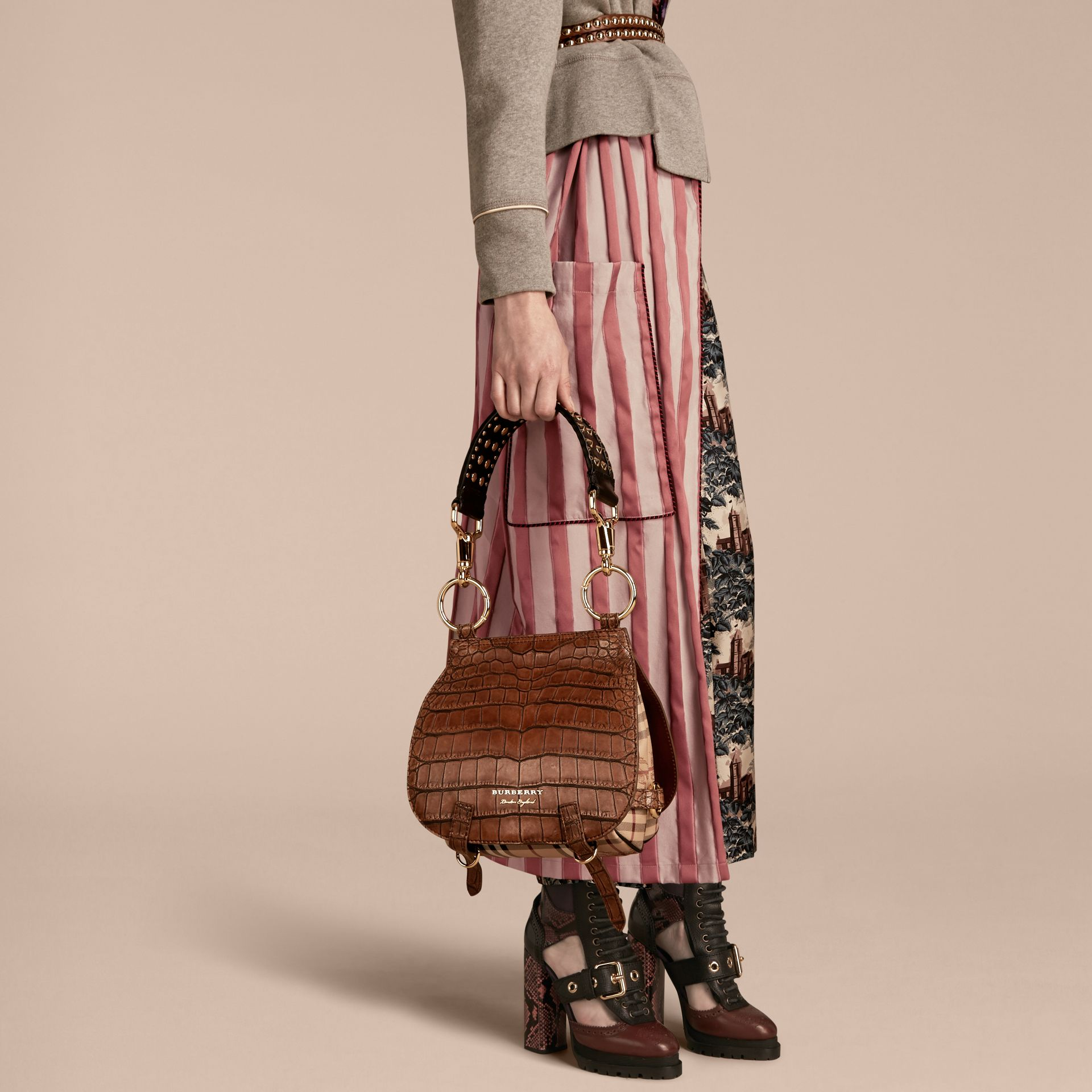Russet brown The Bridle Bag in Alligator and Haymarket Check - gallery image 3