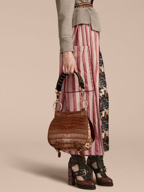 The Bridle Bag in Alligator and Haymarket Check in Russet Brown - Women | Burberry - cell image 2