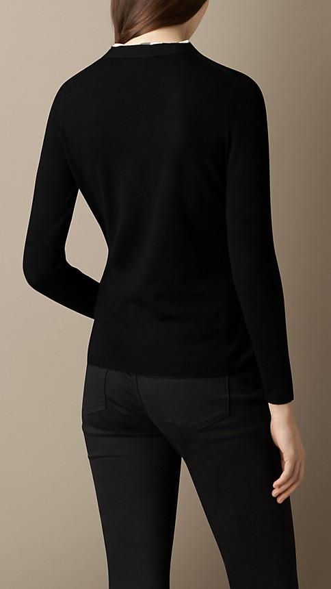 Black Check Placket Merino Wool Cardigan - Image 2