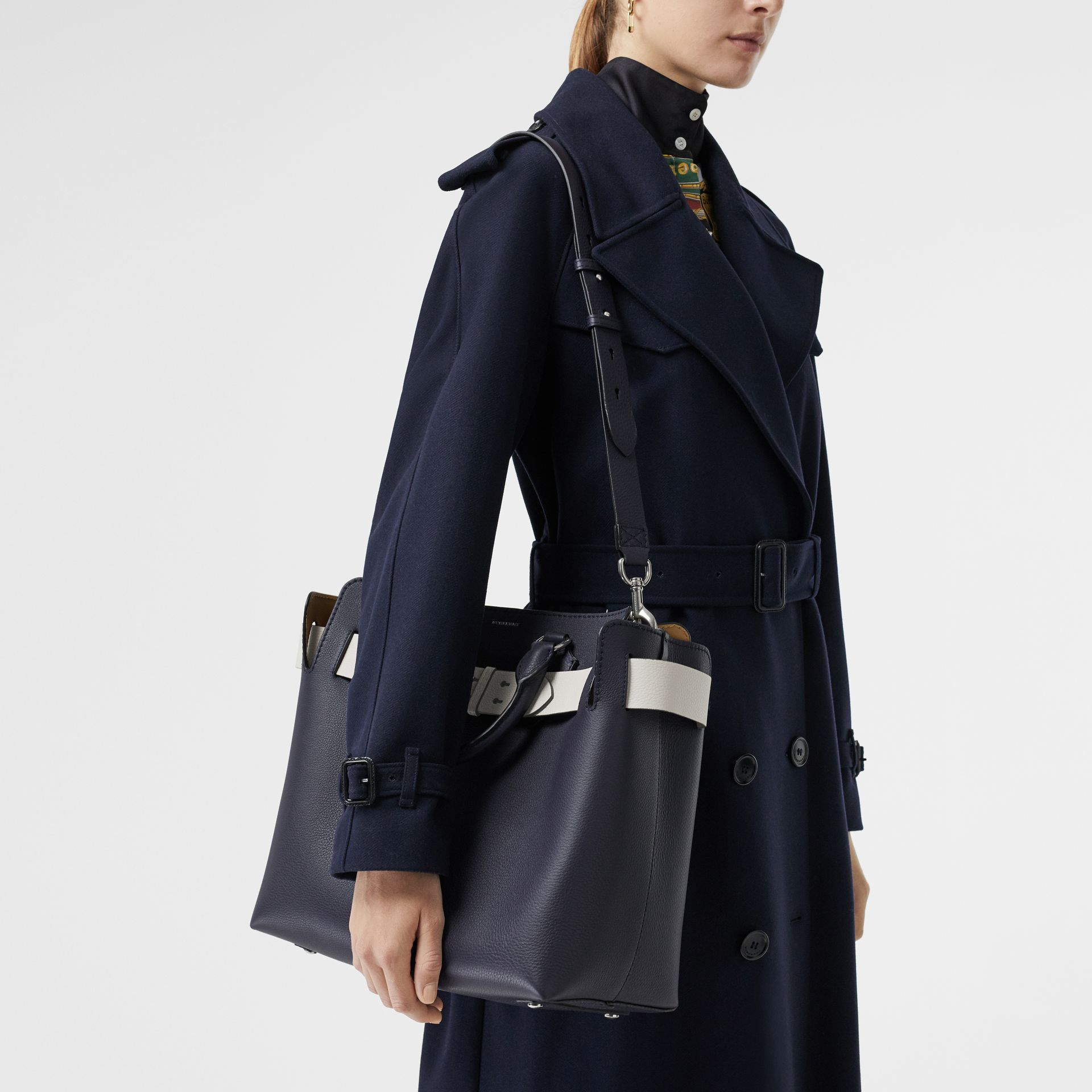 The Medium Leather Belt Bag in Regency Blue - Women | Burberry United Kingdom - gallery image 3