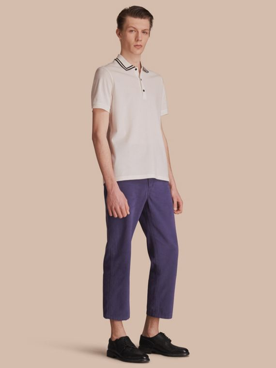 Striped Collar Cotton Piqué Polo Shirt in White