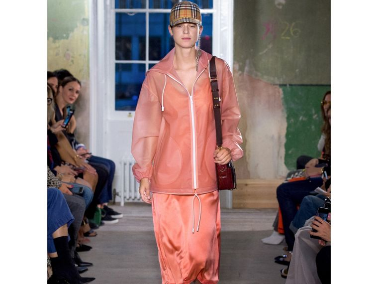 Soft-touch Plastic Cagoule in Rose Pink - Women   Burberry - cell image 4