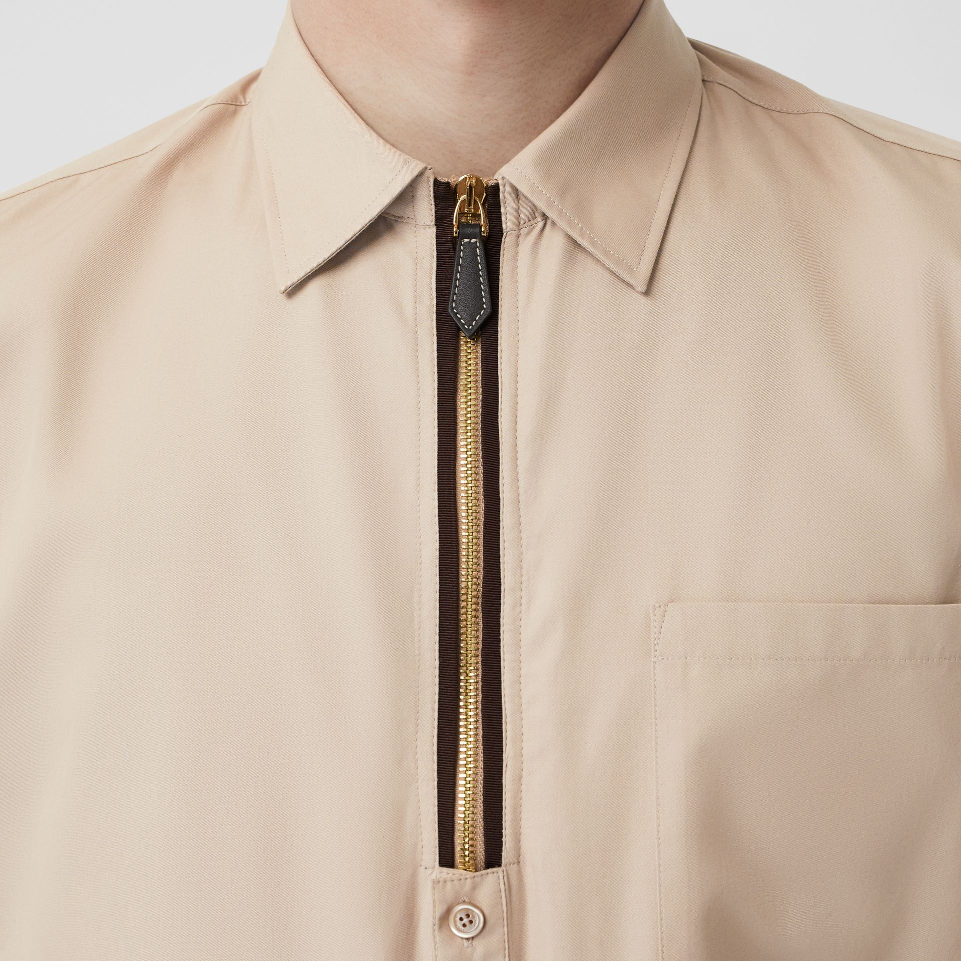 Classic Fit Zip Detail Cotton Twill Shirt in Soft Fawn - Men | Burberry - gallery image 5