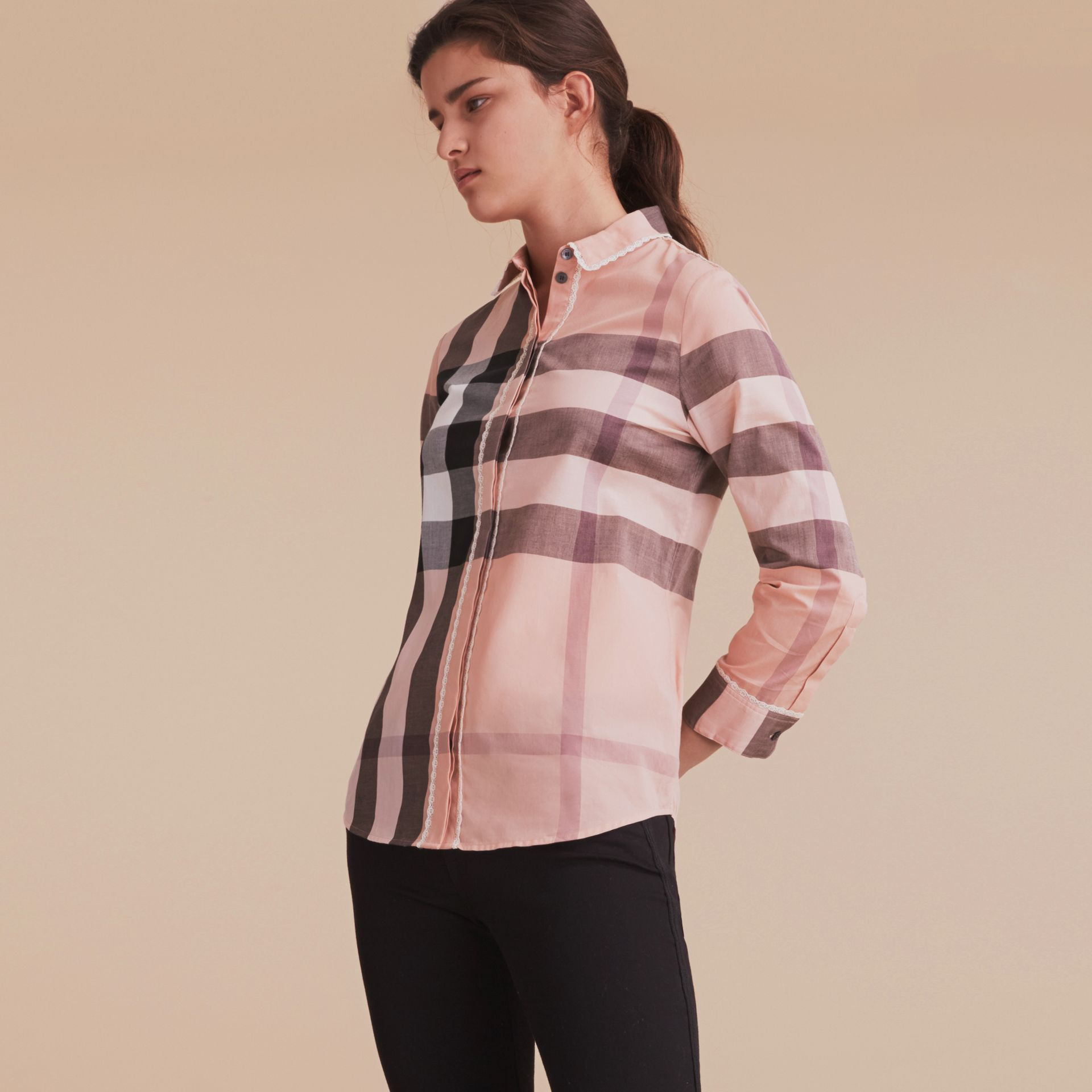 Lace Trim Check Cotton Shirt in Antique Pink - Women | Burberry - gallery image 6