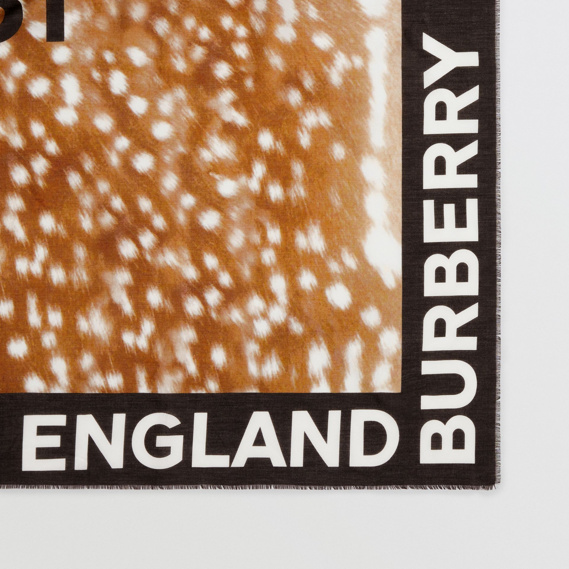 Slogan Deer Print Cotton Silk Large Square Scarf in Brown | Burberry - gallery image 4
