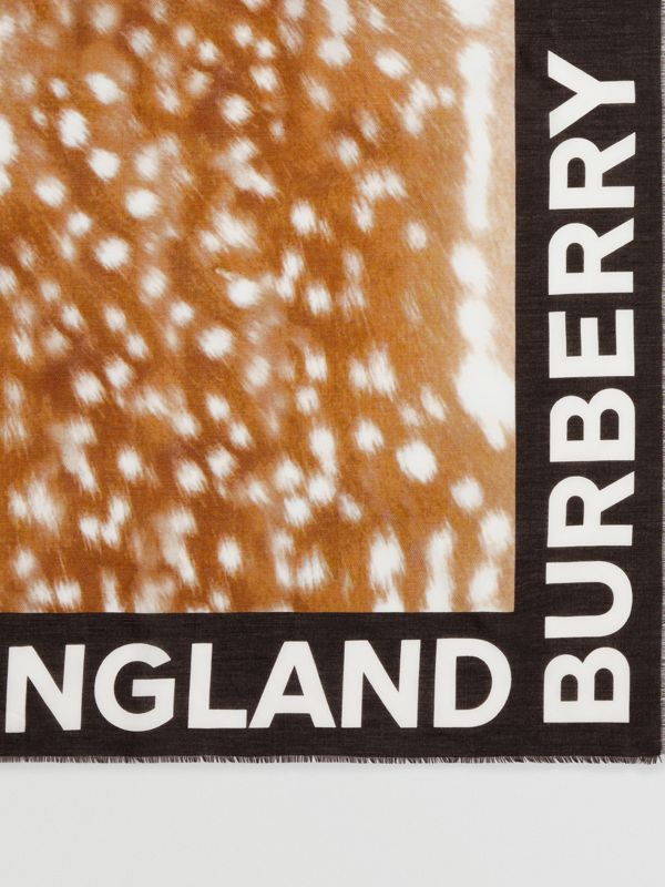 Slogan Deer Print Cotton Silk Large Square Scarf in Brown | Burberry - cell image 2