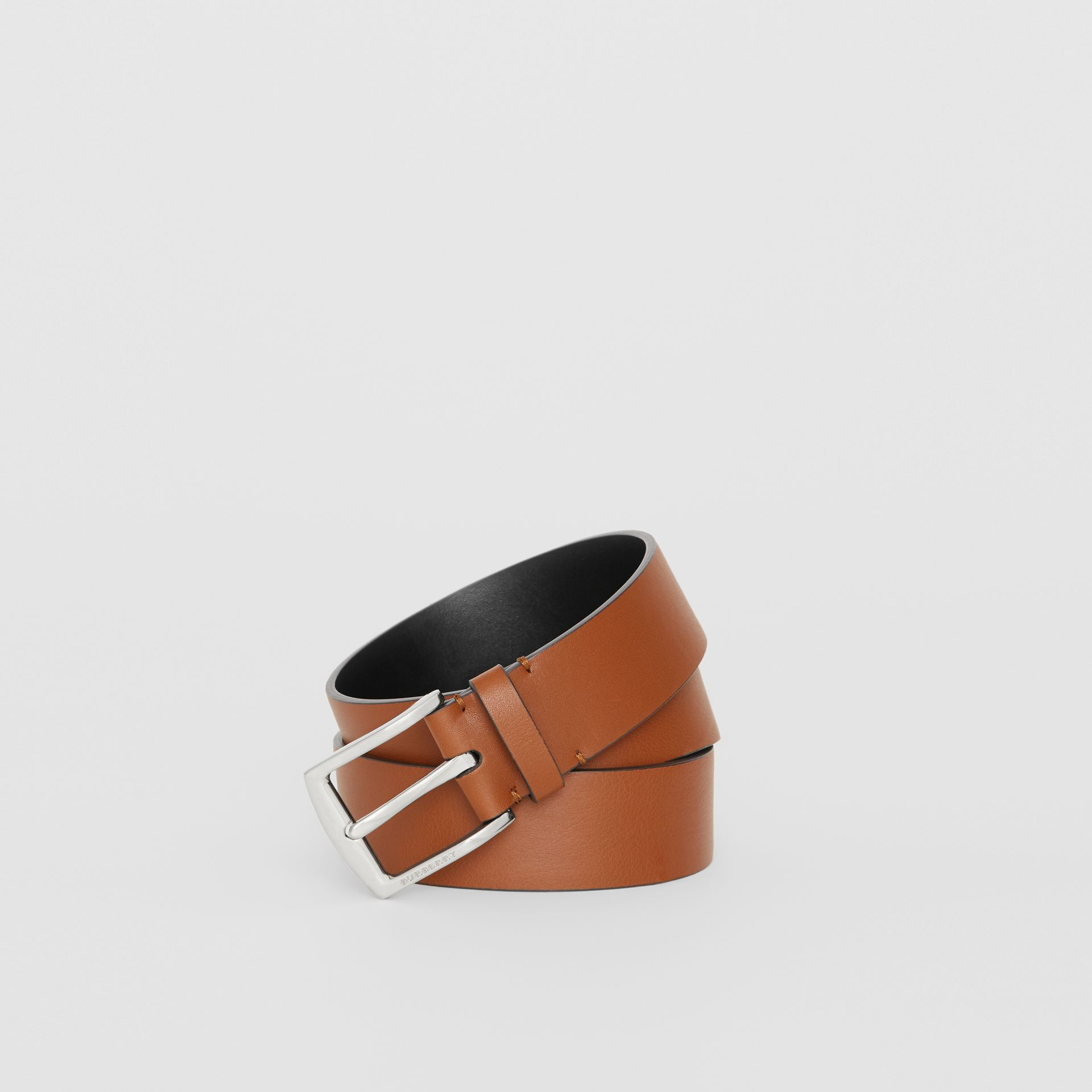 Embossed Crest Leather Belt in Chestnut Brown - Men | Burberry United States - gallery image 0