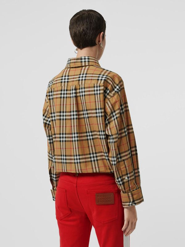 Vintage Check Cotton Oversized Shirt in Antique Yellow - Women | Burberry - cell image 2
