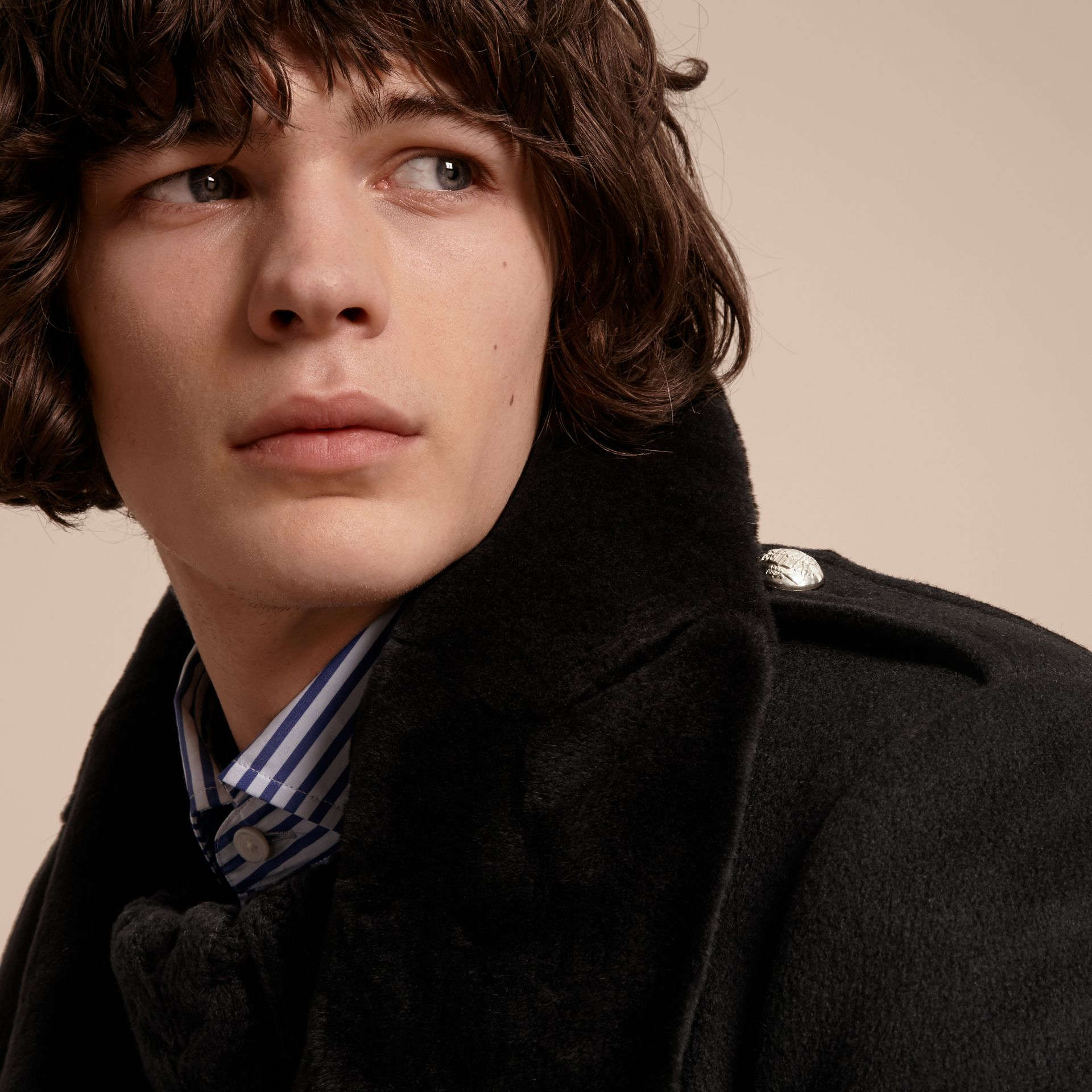 Regimental Cashmere Coat with Detachable Mink Collar - Men | Burberry - gallery image 7