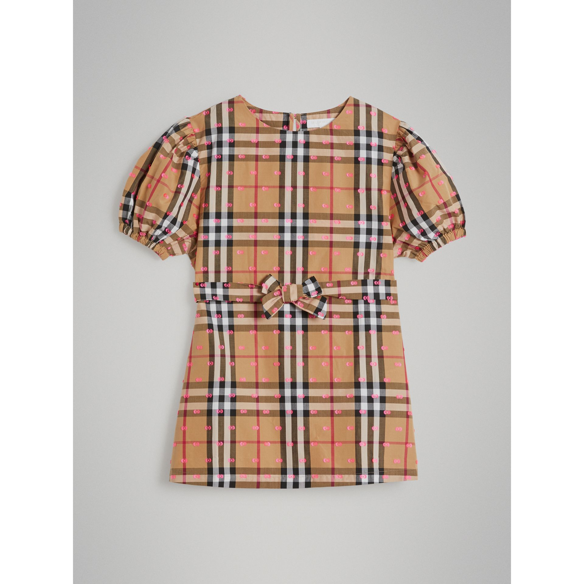 Gathered Sleeve Vintage Check Cotton Dress in Antique Yellow - Girl | Burberry - gallery image 0