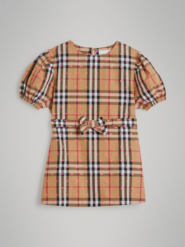 Gathered Sleeve Vintage Check Cotton Dress in Antique Yellow