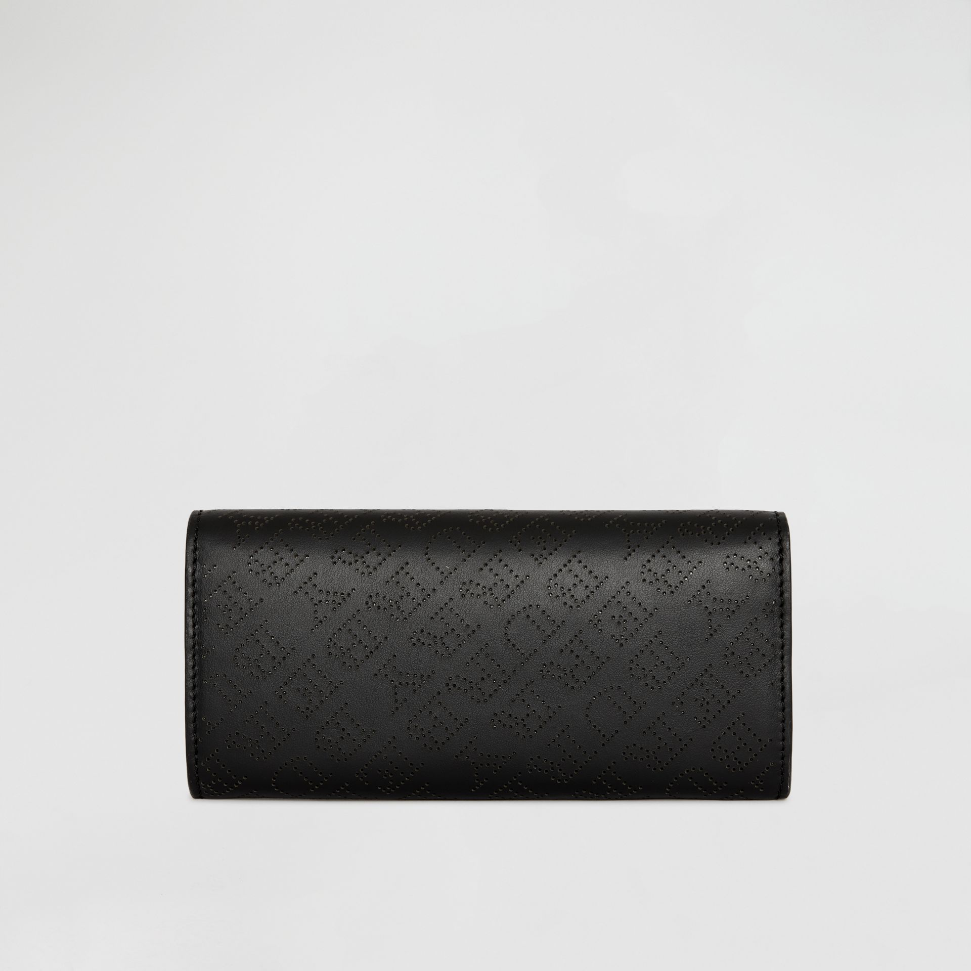 Perforated Logo Leather Continental Wallet in Black - Women | Burberry - gallery image 5
