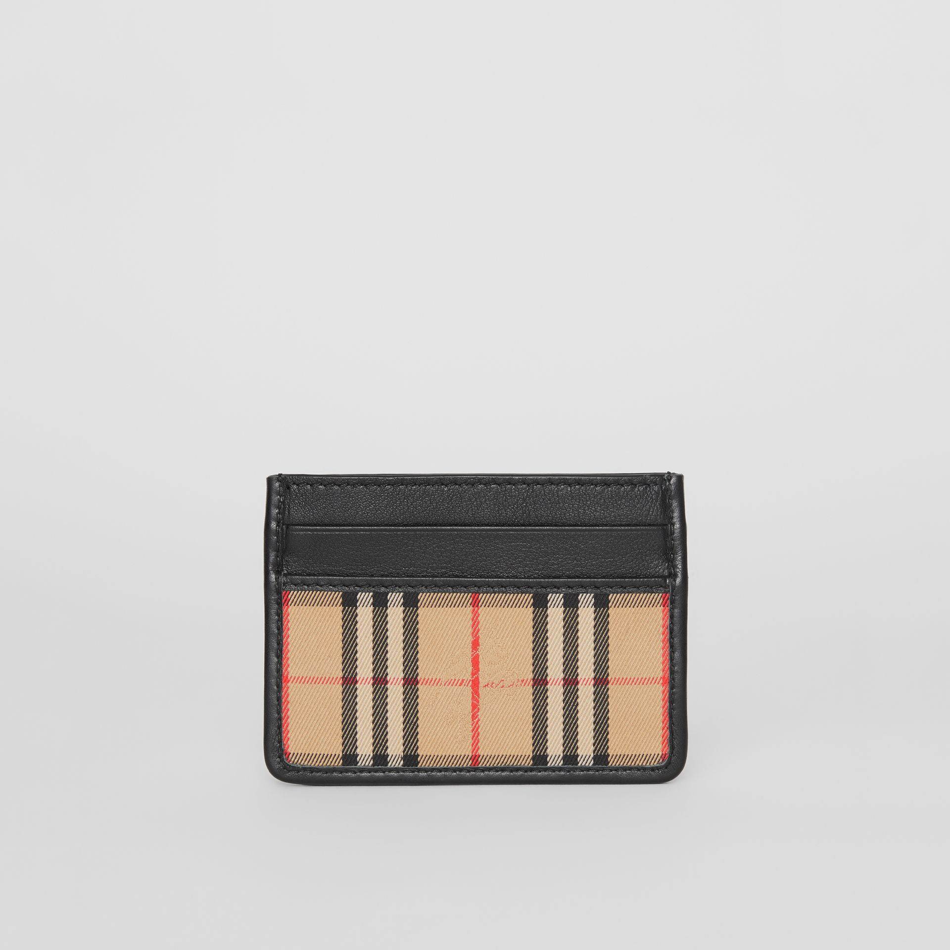 1983 Check and Leather Card Case in Black - Men | Burberry - gallery image 4