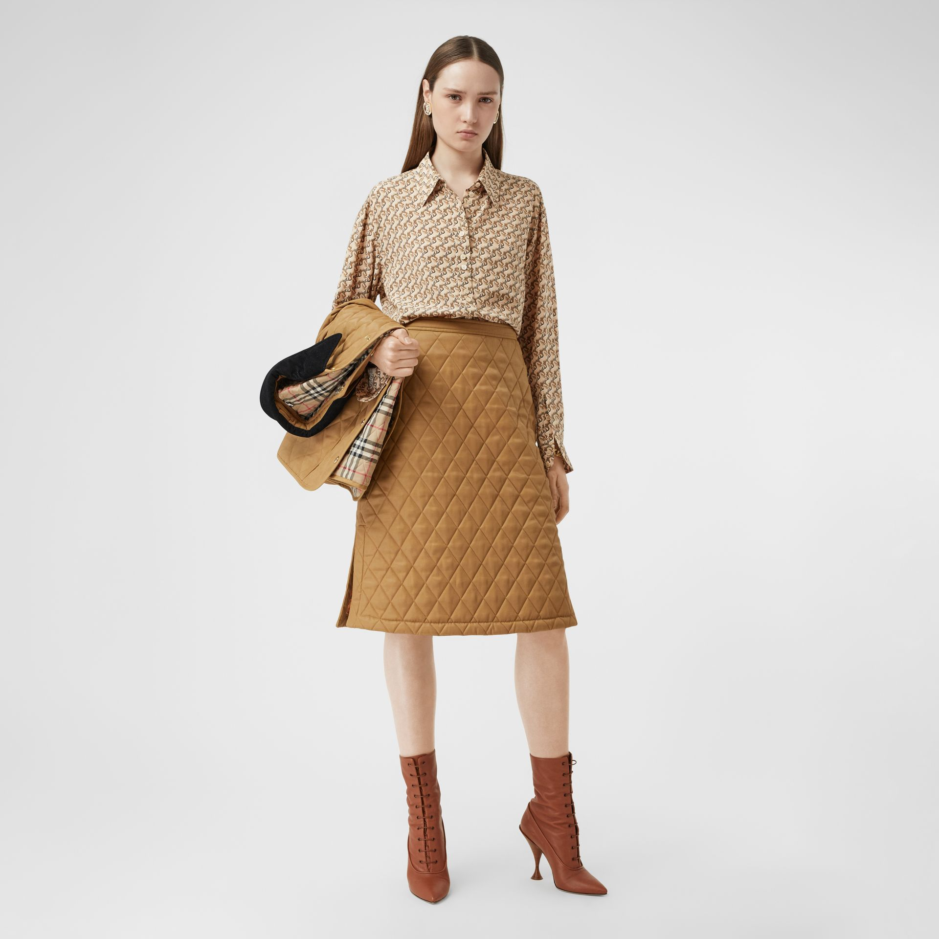 Diamond Quilted Twill A-line Skirt in Camel | Burberry United Kingdom - gallery image 0