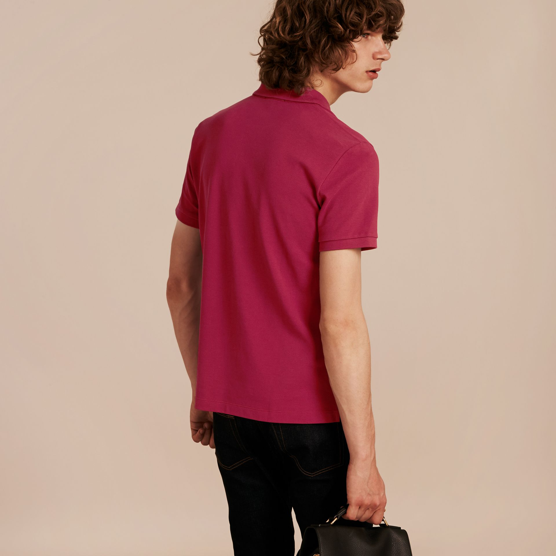 Check Placket Cotton Piqué Polo Shirt Raspberry Sorbet - gallery image 3