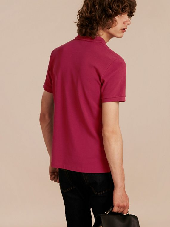 Check Placket Cotton Piqué Polo Shirt in Raspberry Sorbet - Men | Burberry - cell image 2
