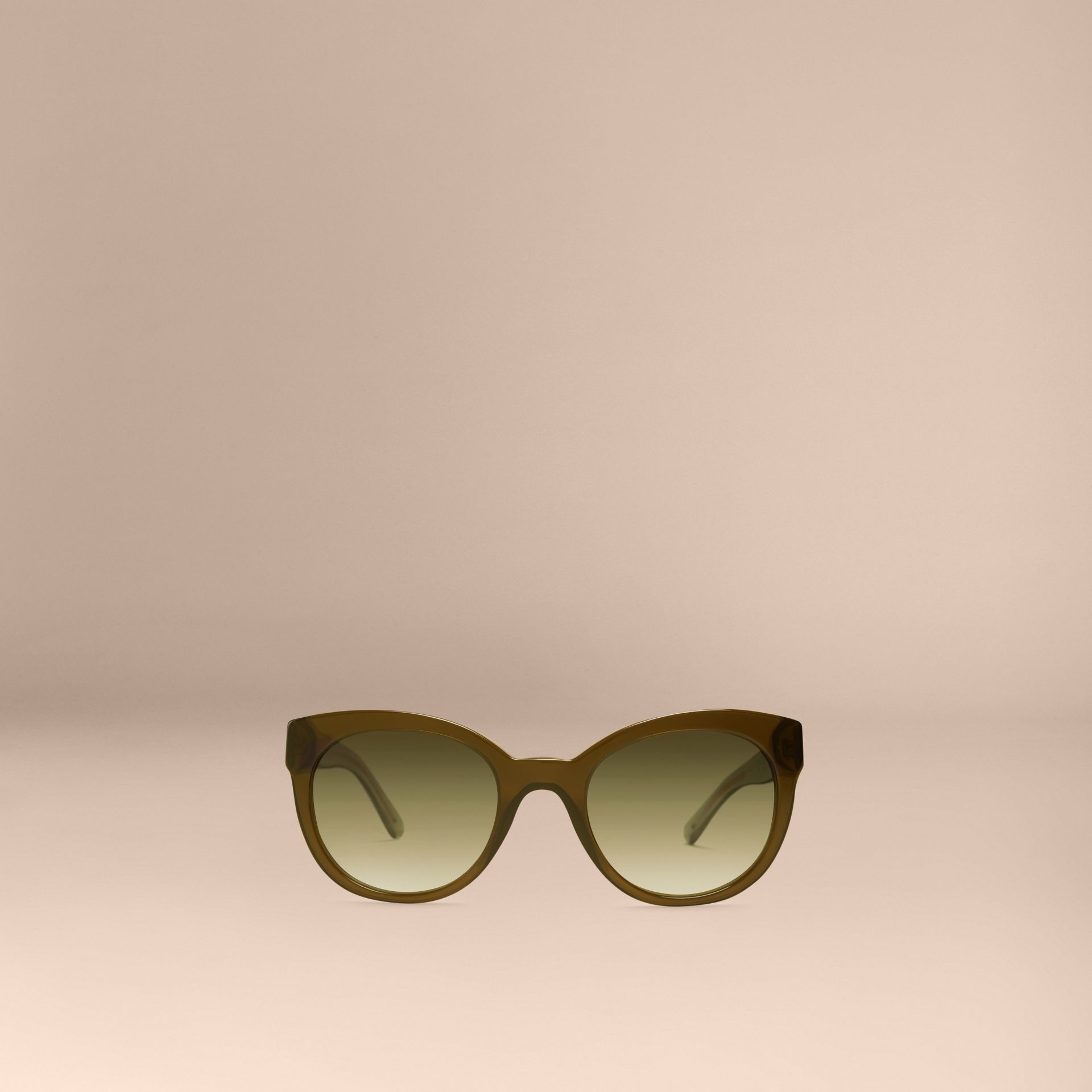 Olive Check Detail Oval Sunglasses Olive - gallery image 3