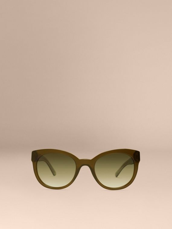 Olive Check Detail Oval Sunglasses Olive - cell image 2