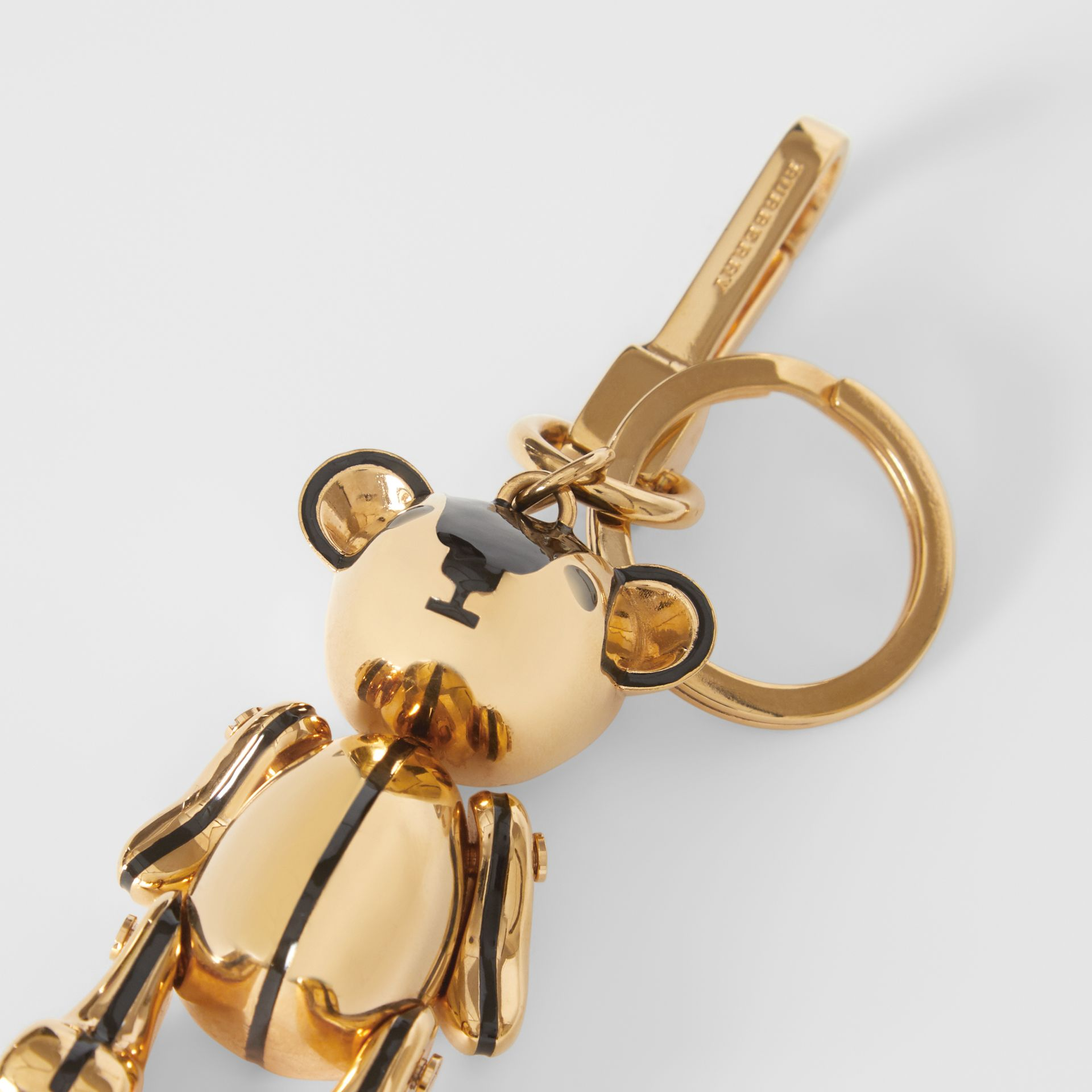 Gold-plated Thomas Bear Charm in Black/light | Burberry Singapore - gallery image 1