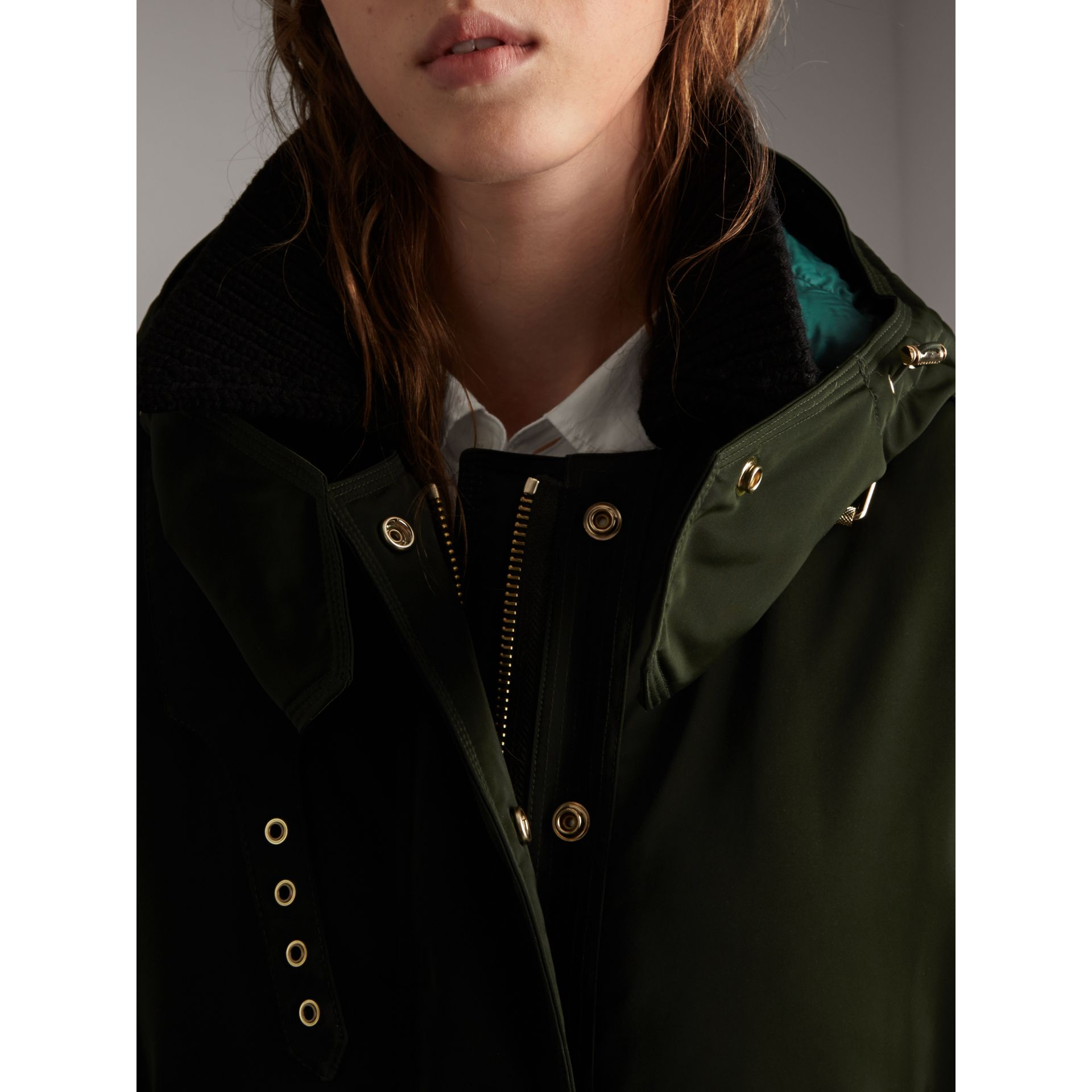 Down-filled Parka Coat with Detachable Fur Trim in Dark Cedar Green - Women | Burberry United States - gallery image 5