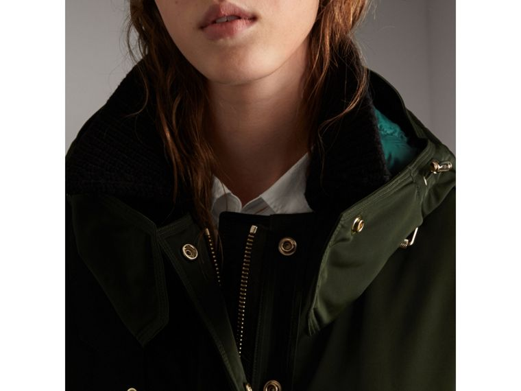 Down-filled Parka Coat with Detachable Fur Trim in Dark Cedar Green - Women | Burberry - cell image 4