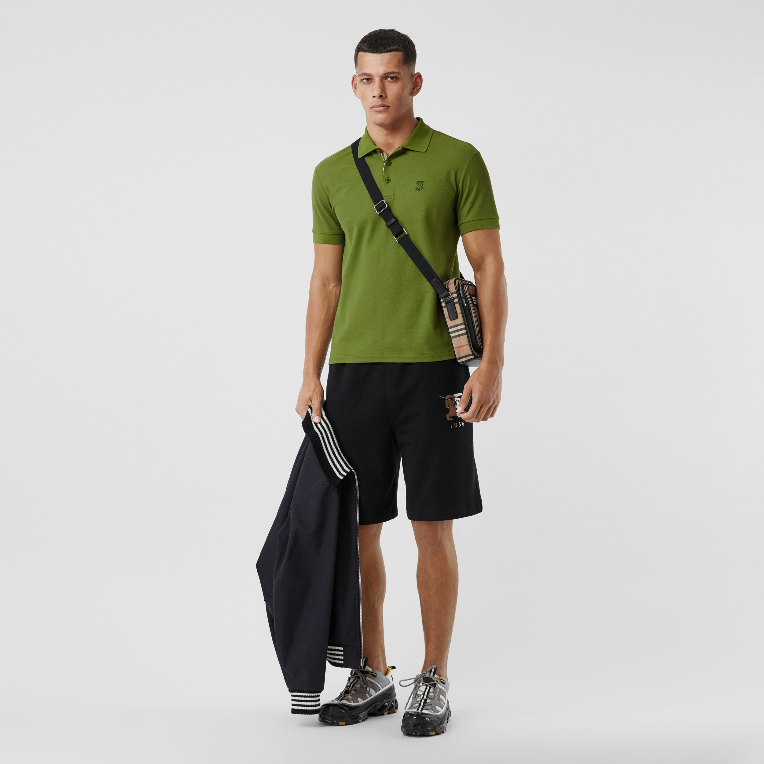 Monogram Motif Cotton Piqué Polo Shirt in Cedar Green - Men | Burberry - 1