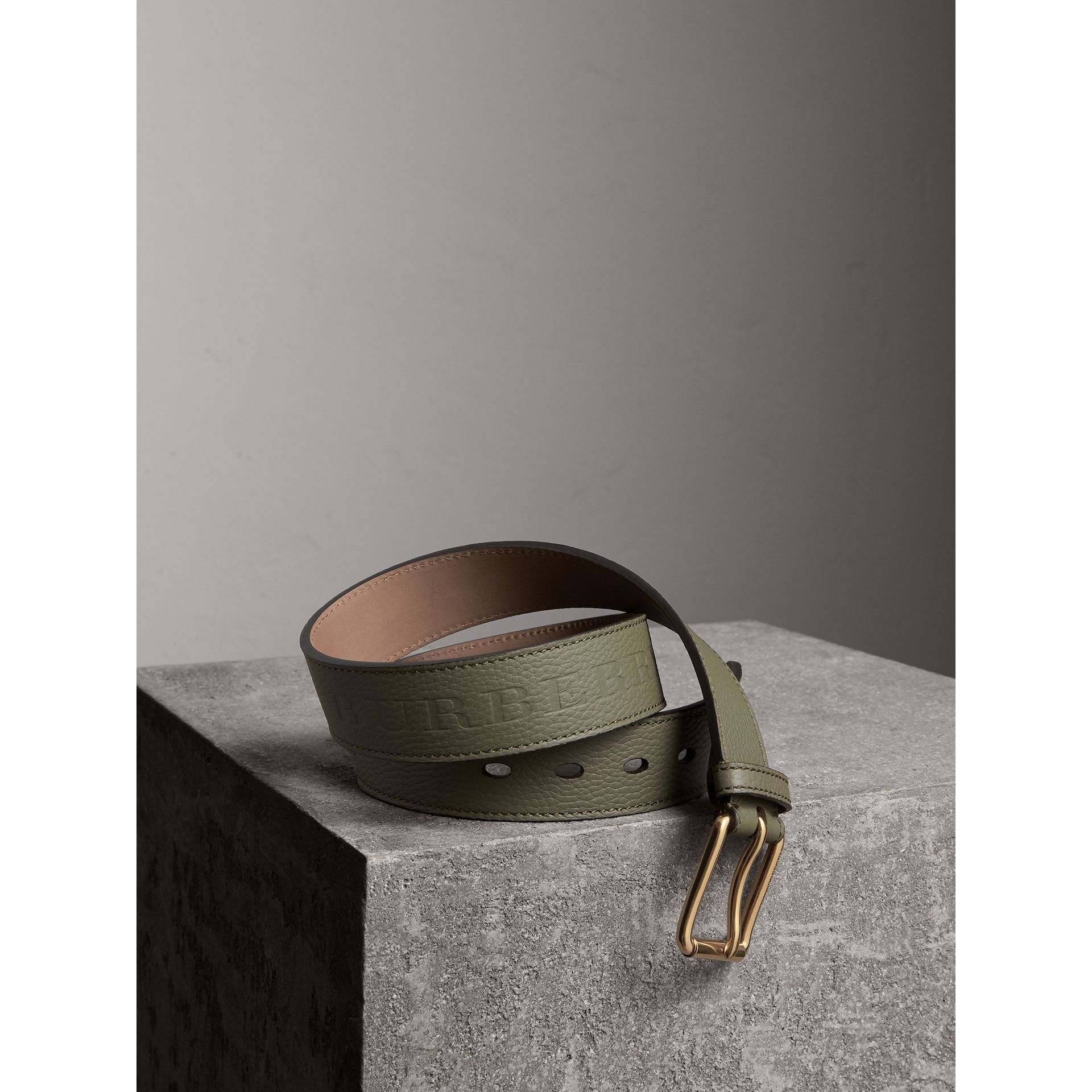 Grainy Leather Belt in Slate Green - Men | Burberry - gallery image 1