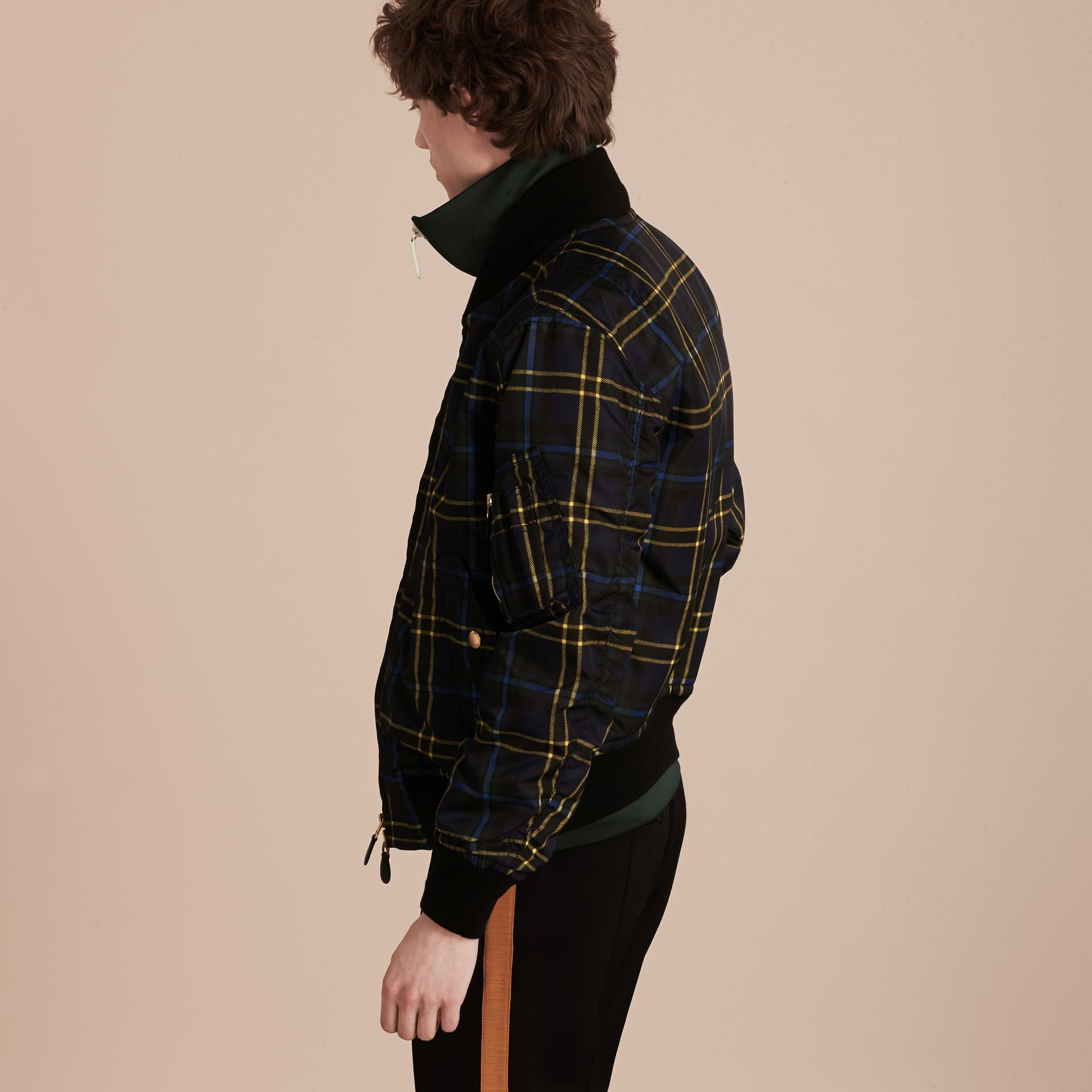 Navy Check Oversize Bomber Jacket - gallery image 3