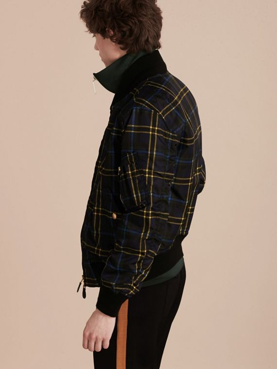 Navy Check Oversize Bomber Jacket - cell image 2
