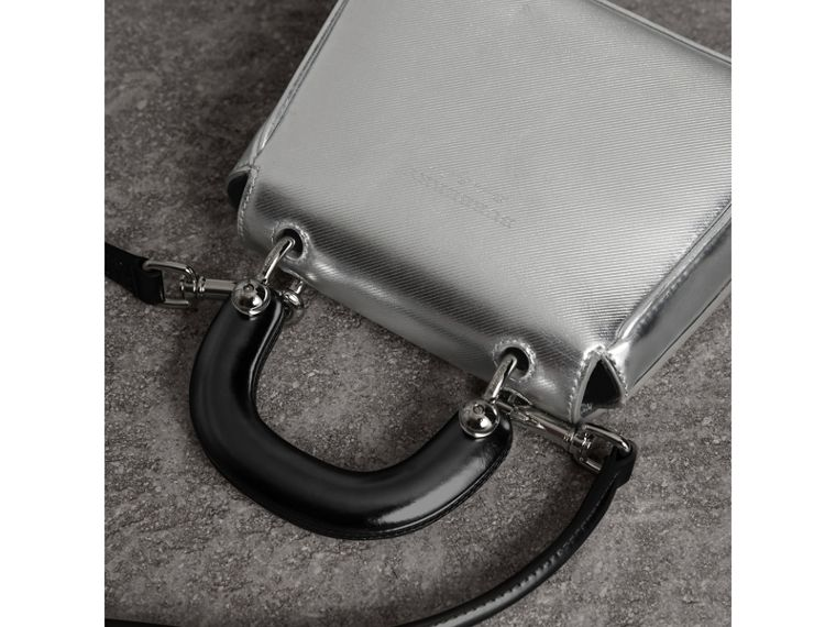 The Mini DK88 Top Handle Bag in Metallic Leather in Silver - Women | Burberry United Kingdom - cell image 4
