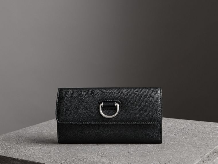D-ring Grainy Leather Continental Wallet in Black - Women | Burberry - cell image 4