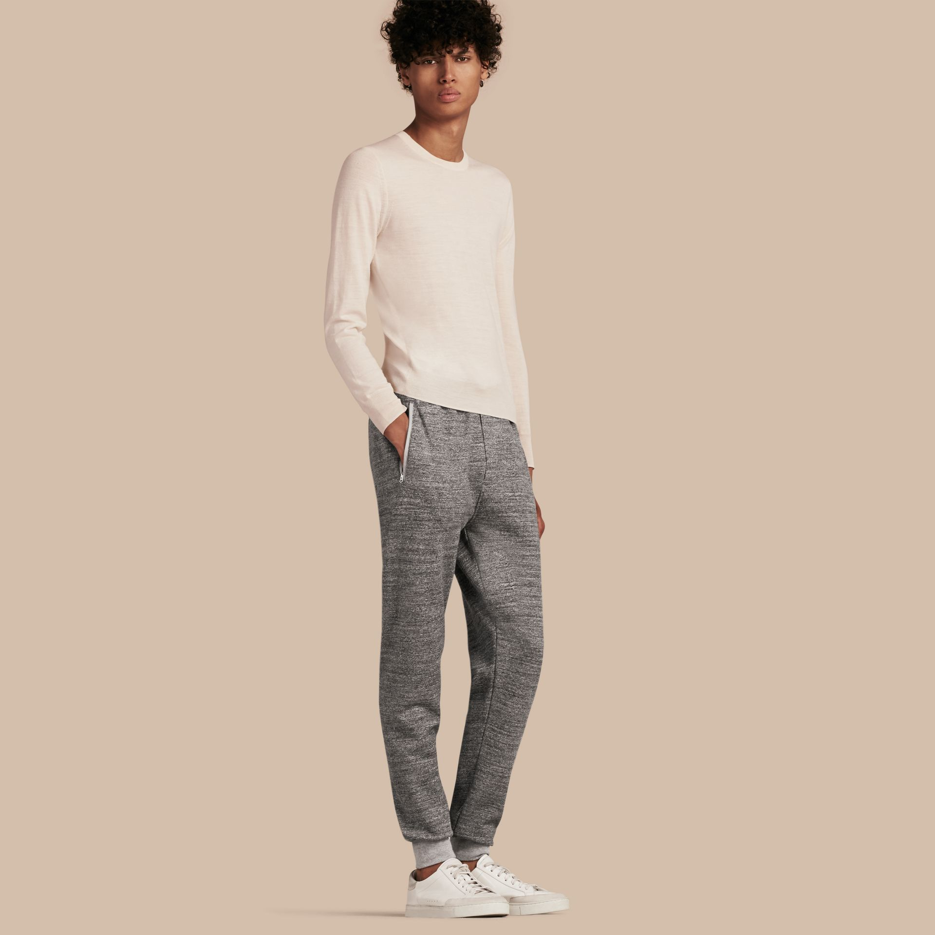 Mid grey melange Cotton Sweat pants - gallery image 1