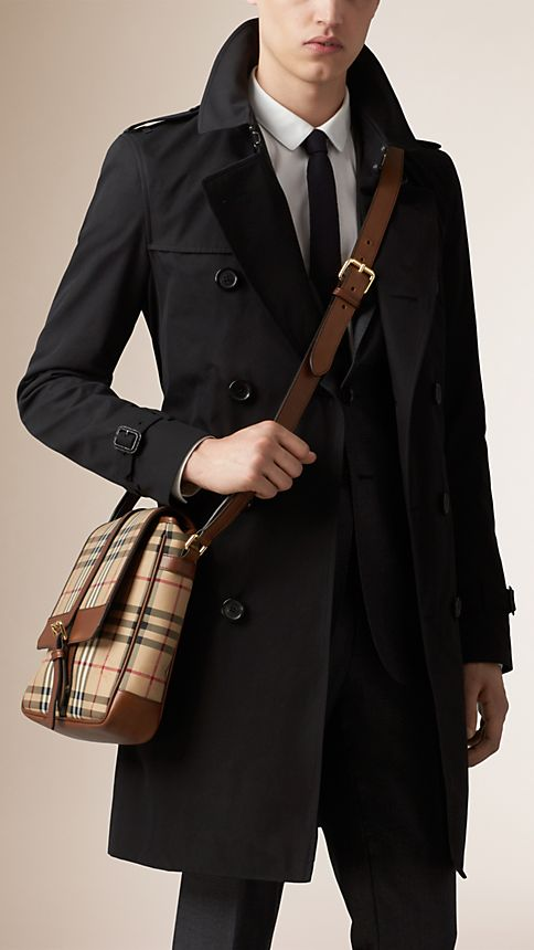 Tan Horseferry Check and Leather Crossbody Bag - Image 2