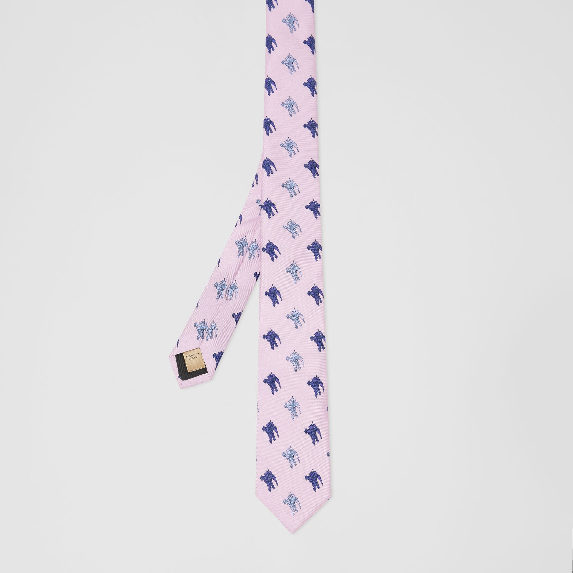 Slim Cut Equestrian Knight Print Silk Tie in Pale Heather - Men | Burberry - gallery image 3