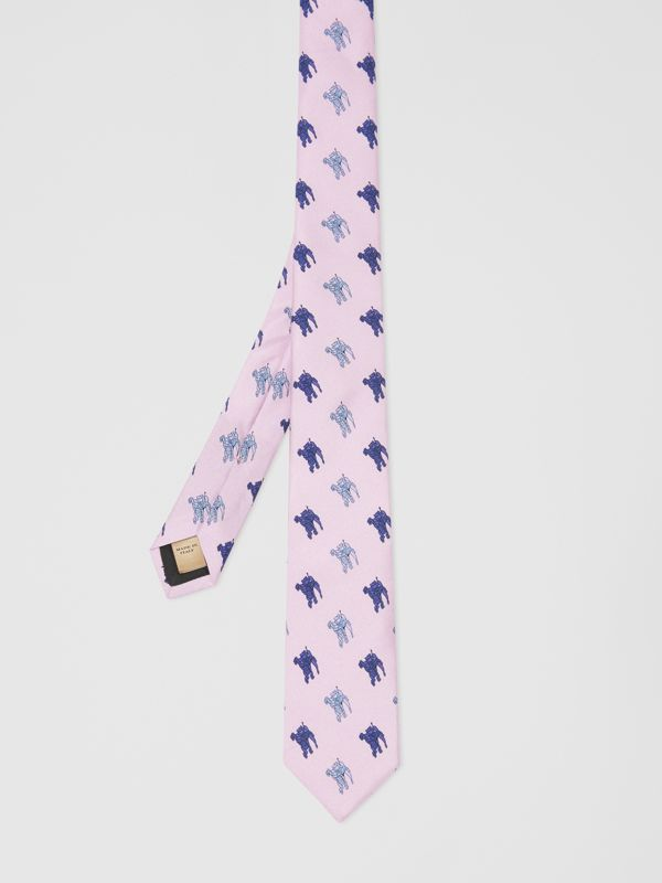 Slim Cut Equestrian Knight Print Silk Tie in Pale Heather - Men | Burberry - cell image 3