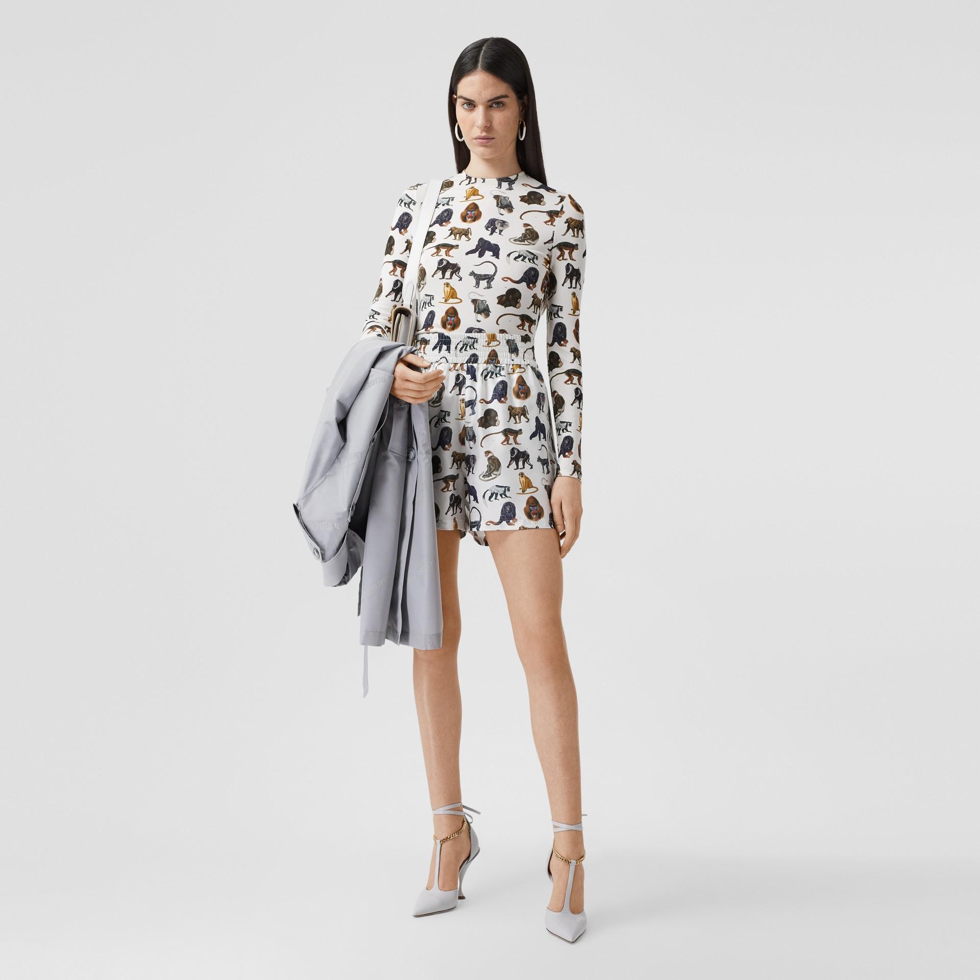 Monkey Print Silk Twill Shorts in Optic White | Burberry United Kingdom - gallery image 4
