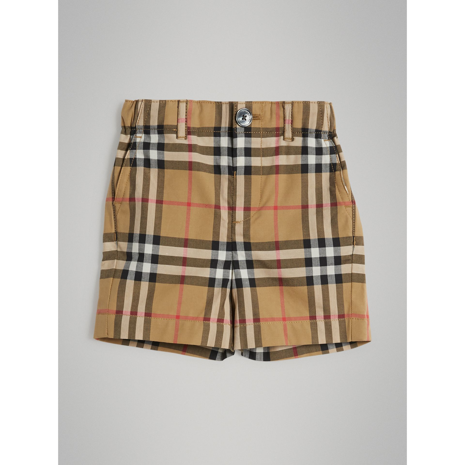 Vintage Check Cotton Tailored Shorts in Antique Yellow - Children | Burberry Australia - gallery image 0