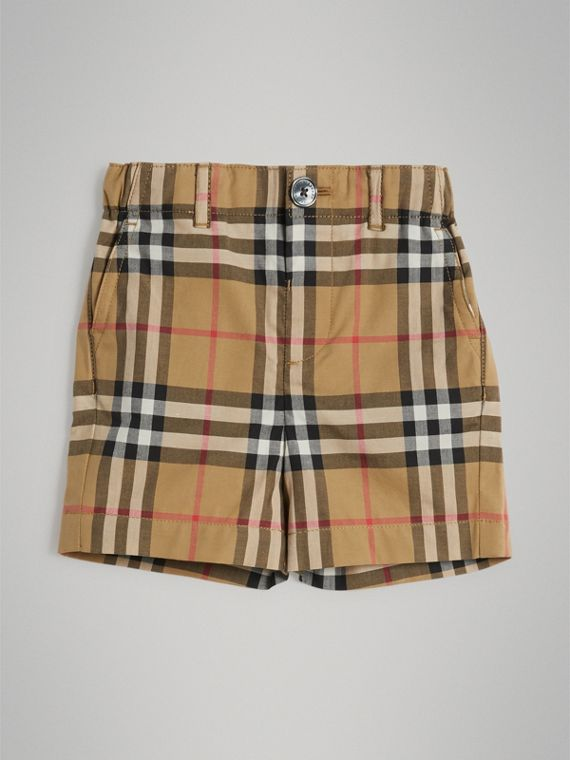Vintage Check Cotton Shorts in Antique Yellow