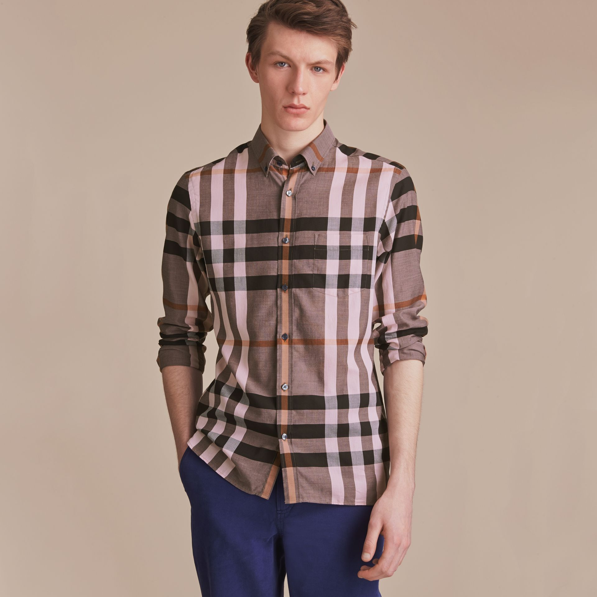 Button-down Collar Check Cotton Poplin Shirt in Antique Rose - Men | Burberry - gallery image 6