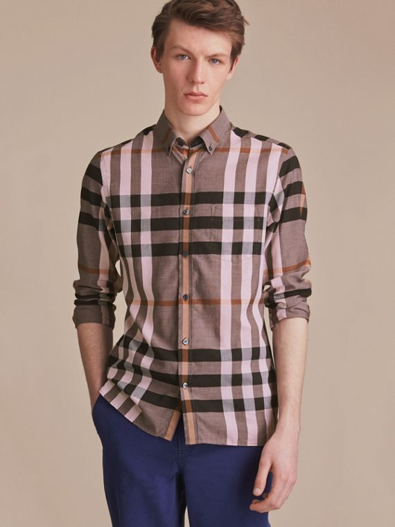 Button-down Collar Check Cotton Poplin Shirt in Antique Rose - Men | Burberry Australia