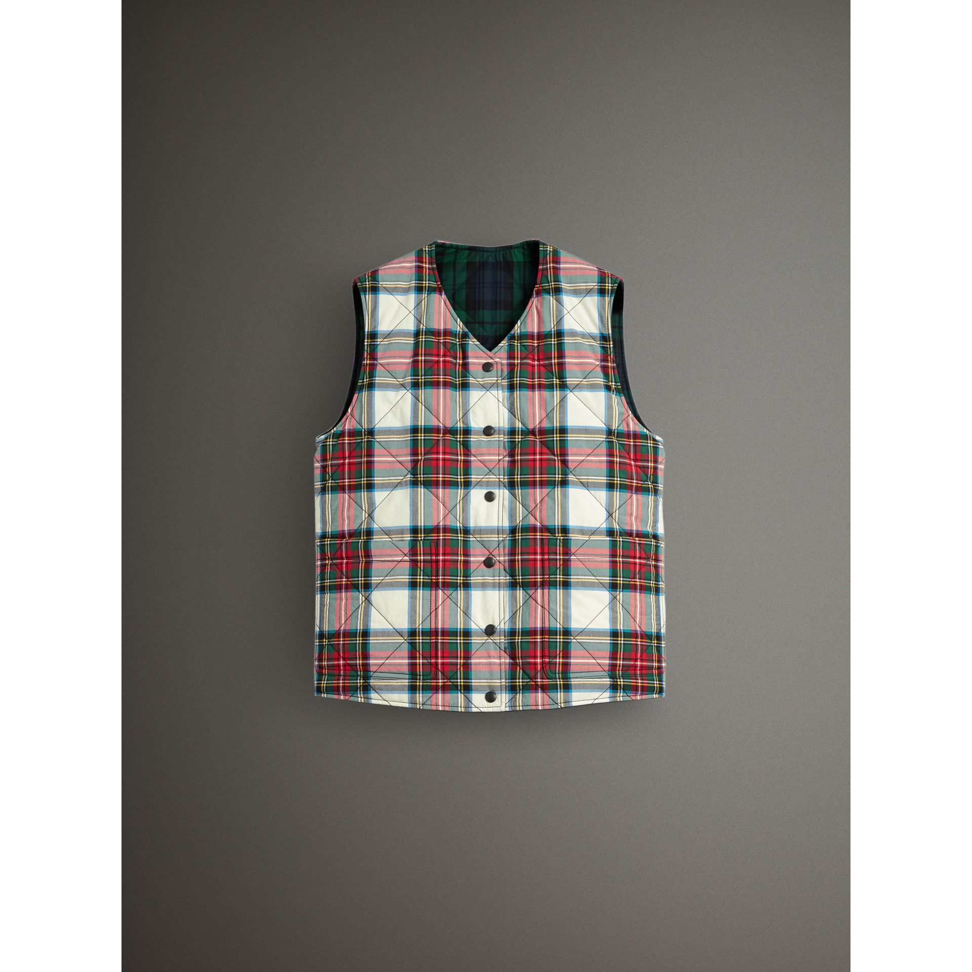 Reversible Tartan Quilted Cotton Gilet in Natural White - Women | Burberry Australia - gallery image 3