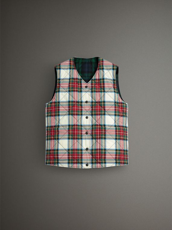 Reversible Tartan Quilted Cotton Gilet in Natural White - Women | Burberry Australia - cell image 3