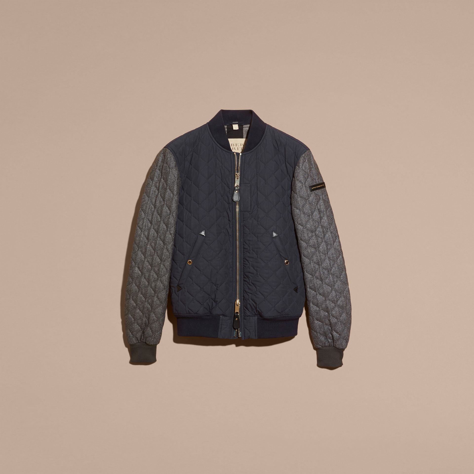 Navy Quilted Cotton and Wool Bomber Jacket - gallery image 4