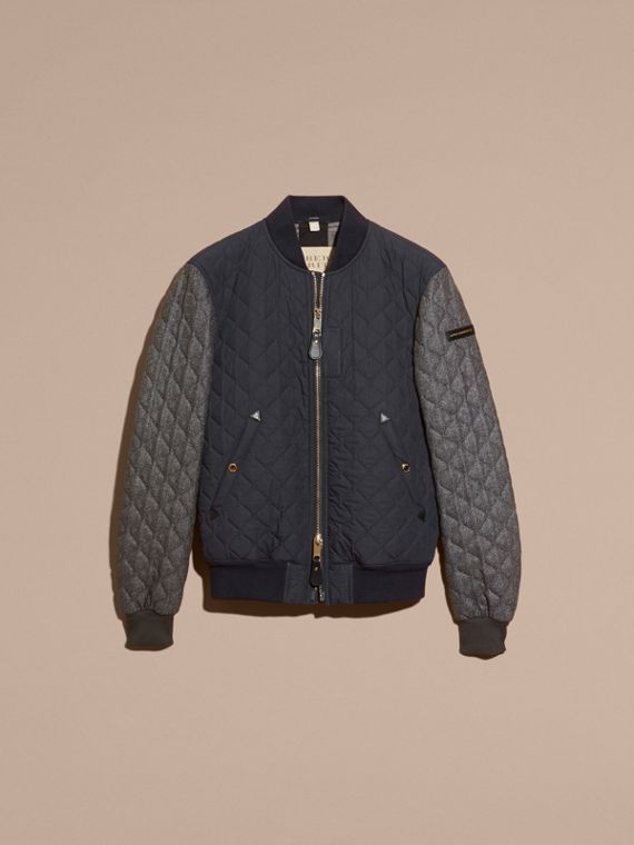 Navy Quilted Cotton and Wool Bomber Jacket - cell image 3