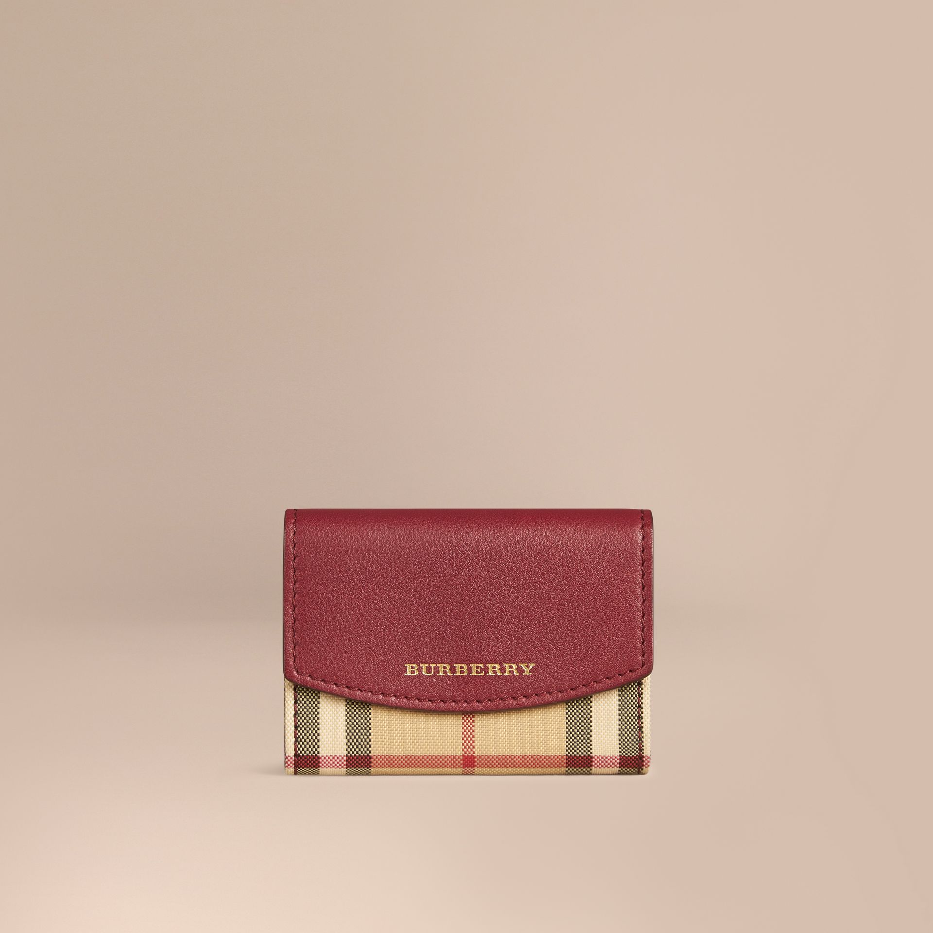 Dark plum Horseferry Check and Leather Card Case Dark Plum - gallery image 1