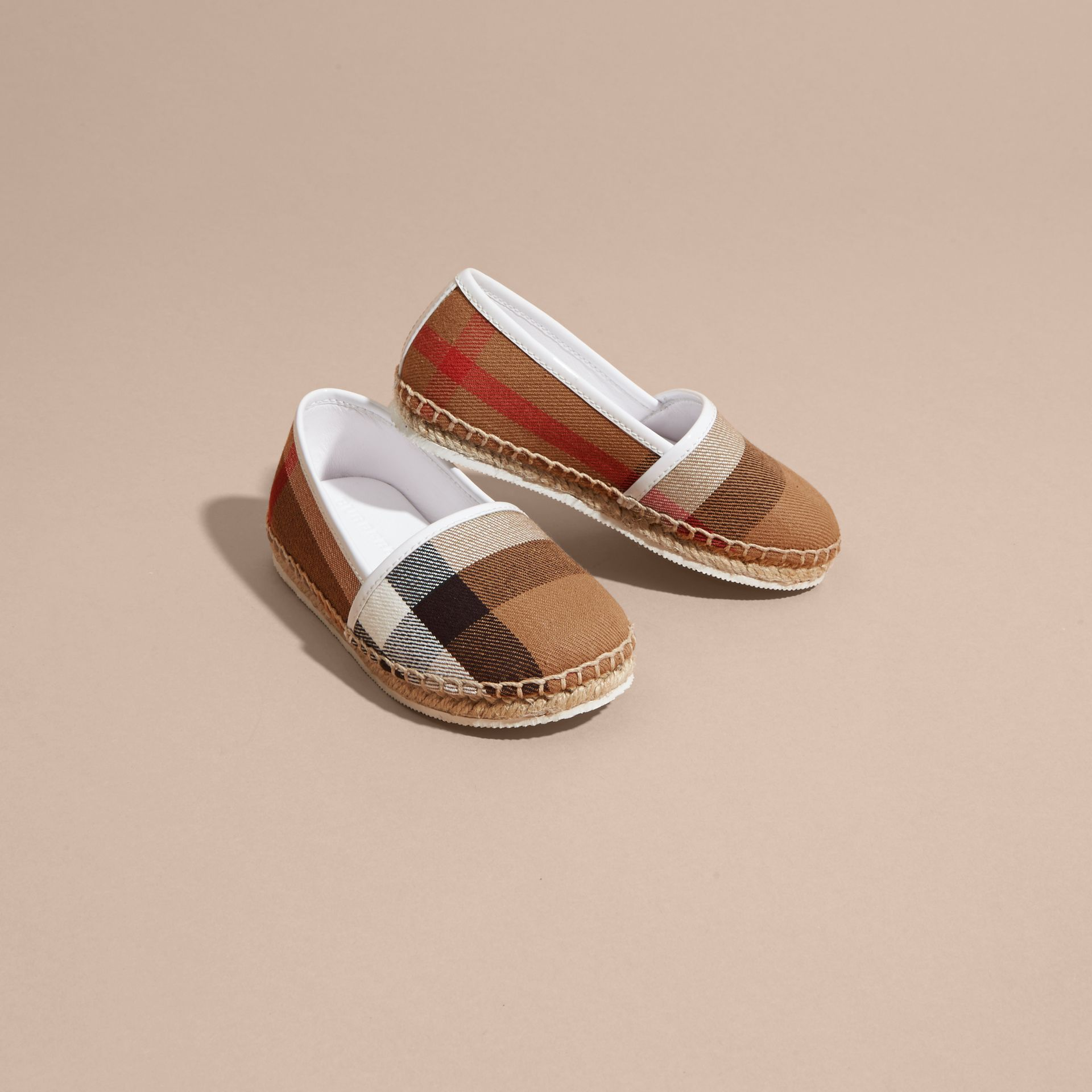 Leather and House Check Espadrilles in Optic White - gallery image 3
