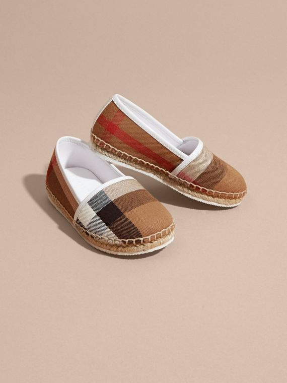 Leather and House Check Espadrilles in Optic White - cell image 2