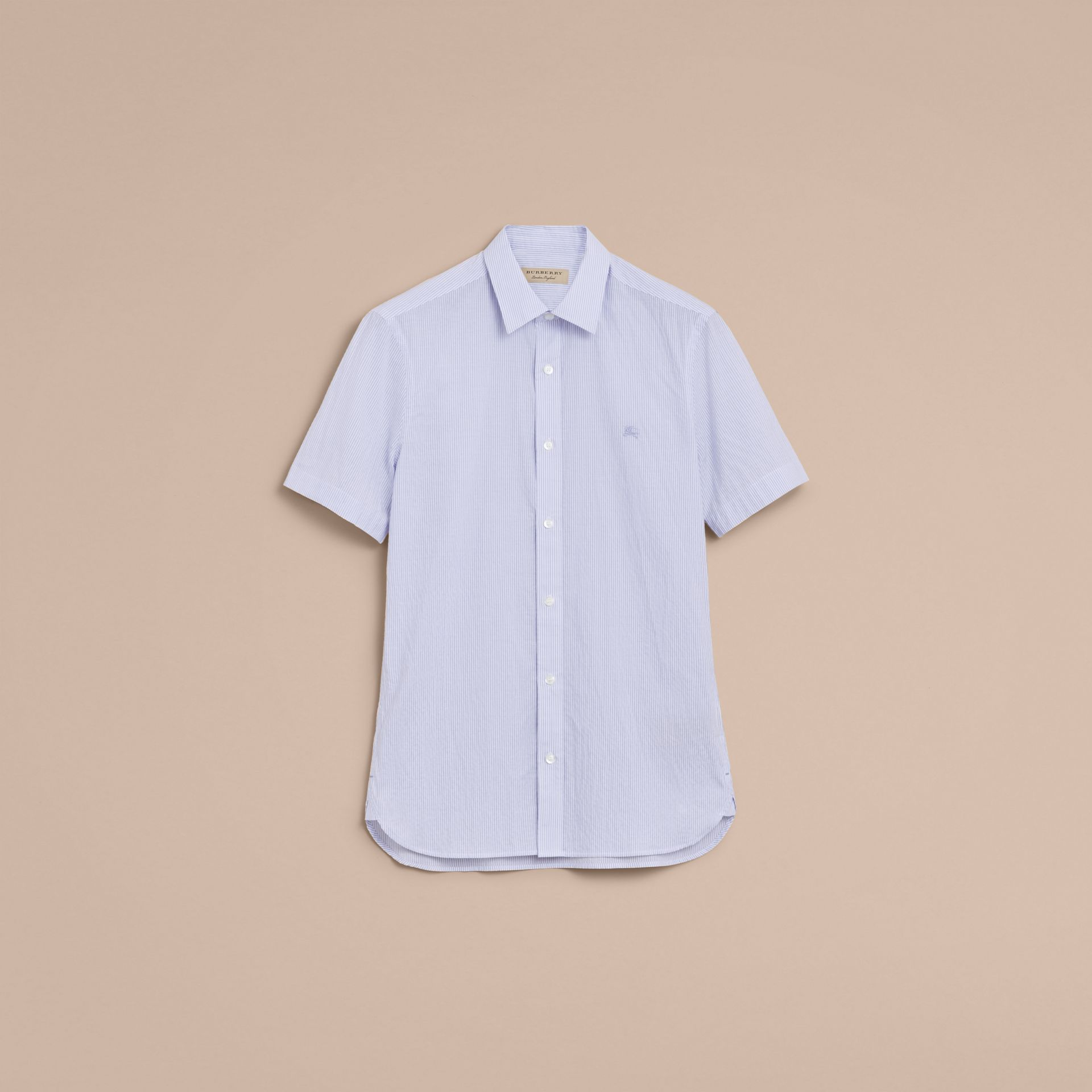 Short-sleeve Striped Cotton Seersucker Shirt in Light Blue - Men | Burberry - gallery image 4