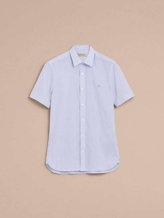 Short-sleeve Striped Cotton Seersucker Shirt in Light Blue - Men | Burberry - cell image 3