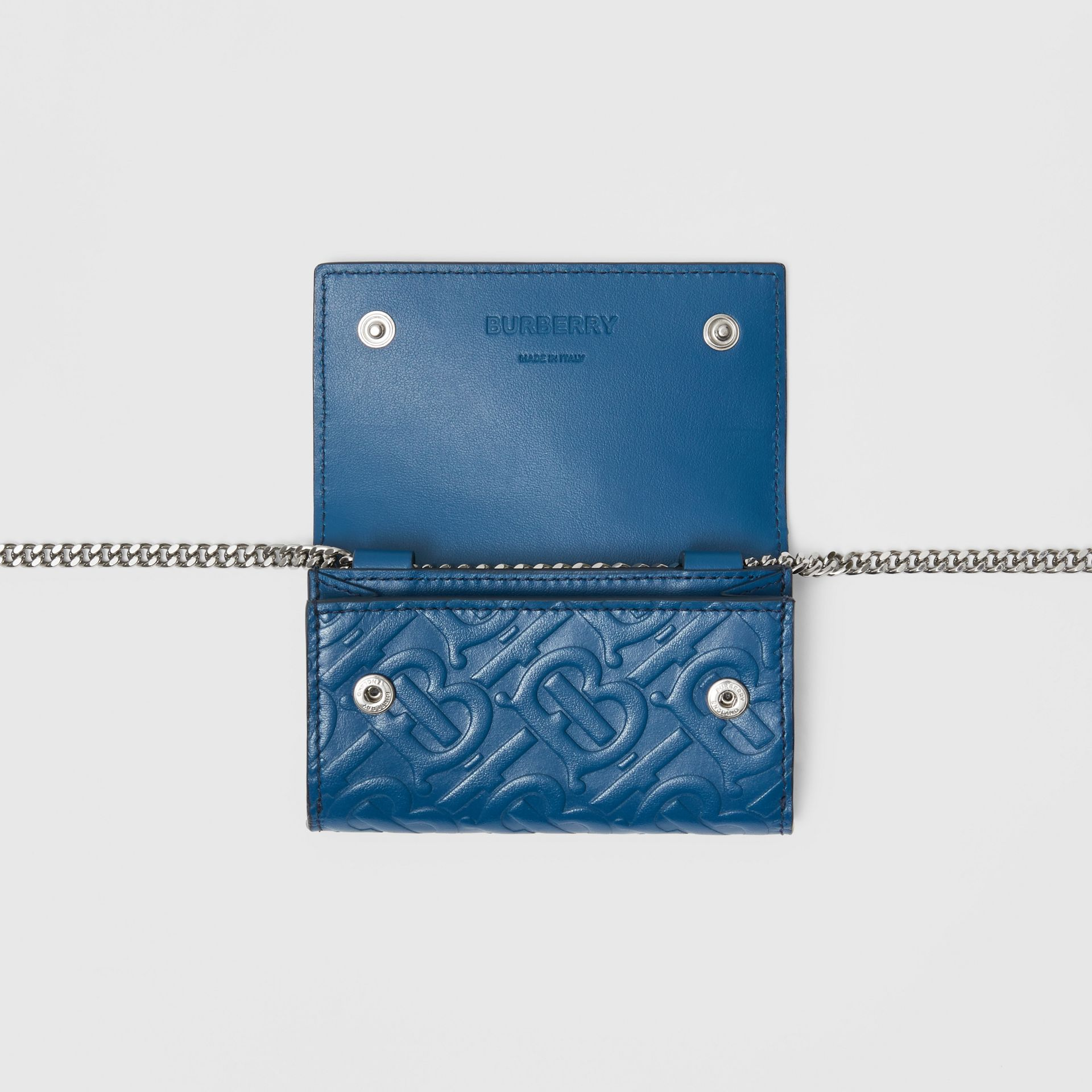 Small Monogram Leather Wallet with Detachable Strap in Pale Canvas Blue   Burberry Hong Kong S.A.R - gallery image 5